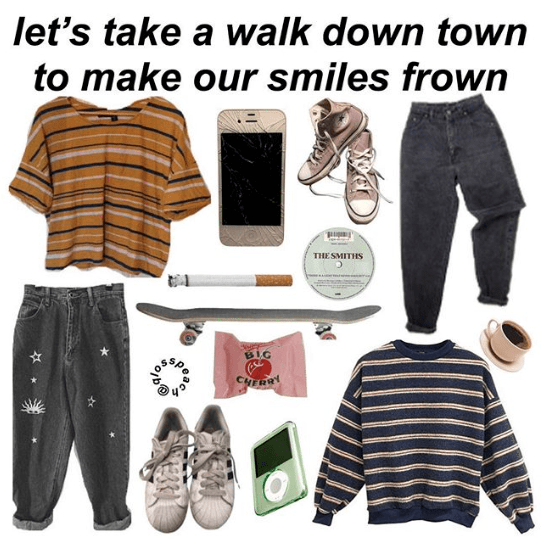 """let's take a walk down town to make our smiles frown"" starter pack"