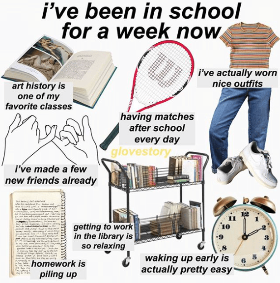 """""""I've been in school for a week now"""" starter pack with piling up homework and making mew friends"""