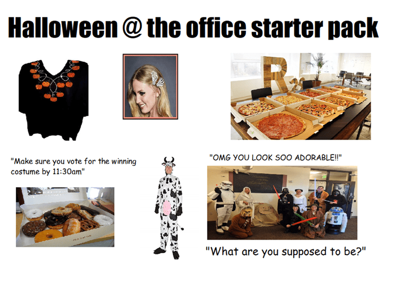 """Halloween at the office"" starter pack with costume contest, donuts and pizza"