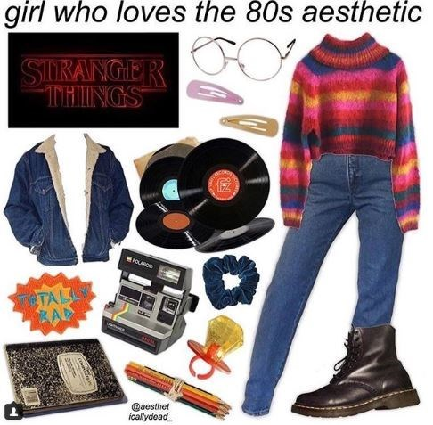 """girl who loves 80s aesthetic"" starter pack with striped sweater, vinyl records and watching Stranger Things"