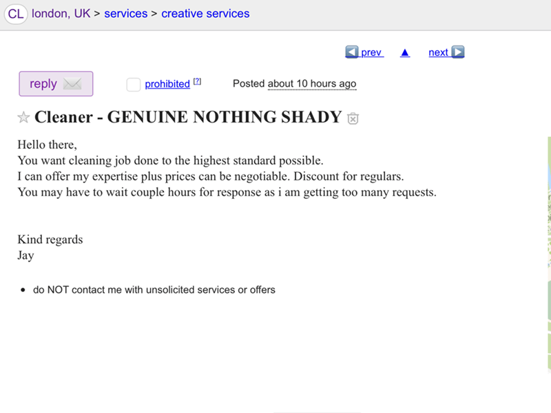 craigslist post of a cleaner that all caps declares genuine nothing shady