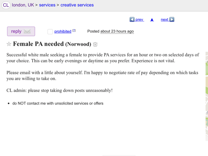 Craigslist request for Female PA admin seems sketchy but is ok because he says not to take it down