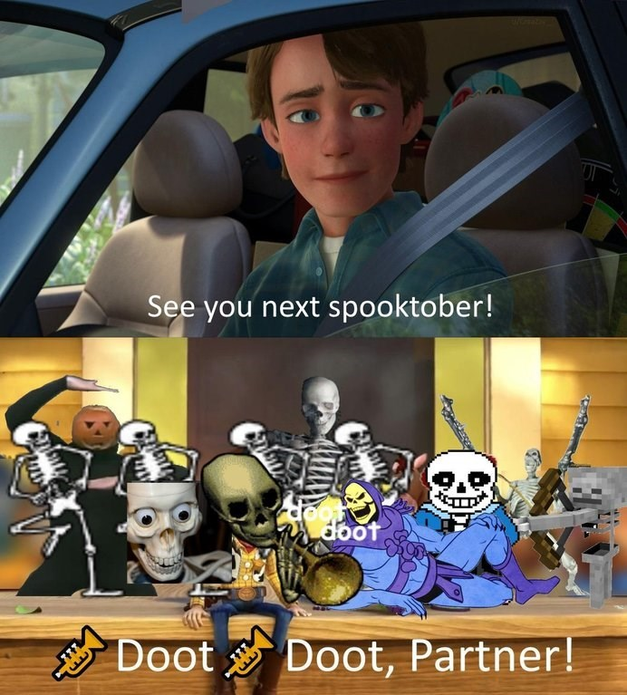 dank meme about the end of October with picture of Andy from Toy Story saying goodbye to spooky memes