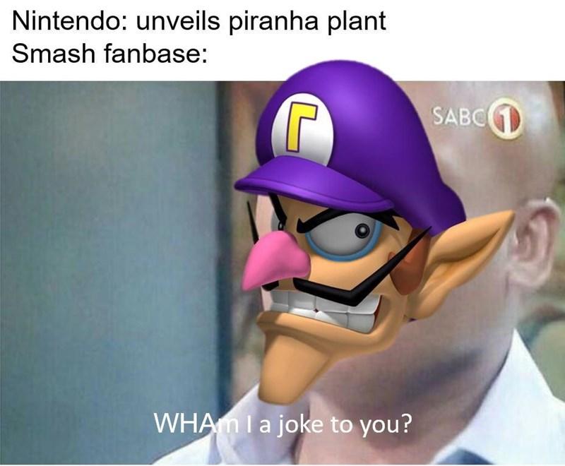 Waluigi dank meme about Nintendo unveiling Piranha Plant