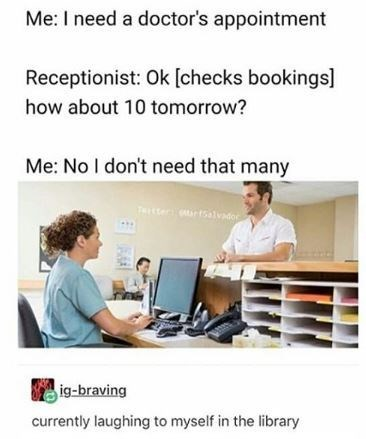 pun about setting ten doctor's appointments with stock picture of man in front of receptionist