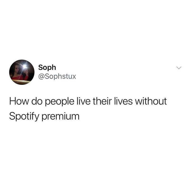 Text - Soph @Sophstux How do people live their lives without Spotify premium