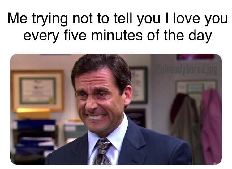 reaction meme of Michale Scott Steve Carell about holding back telling you that I love you 5 times a day