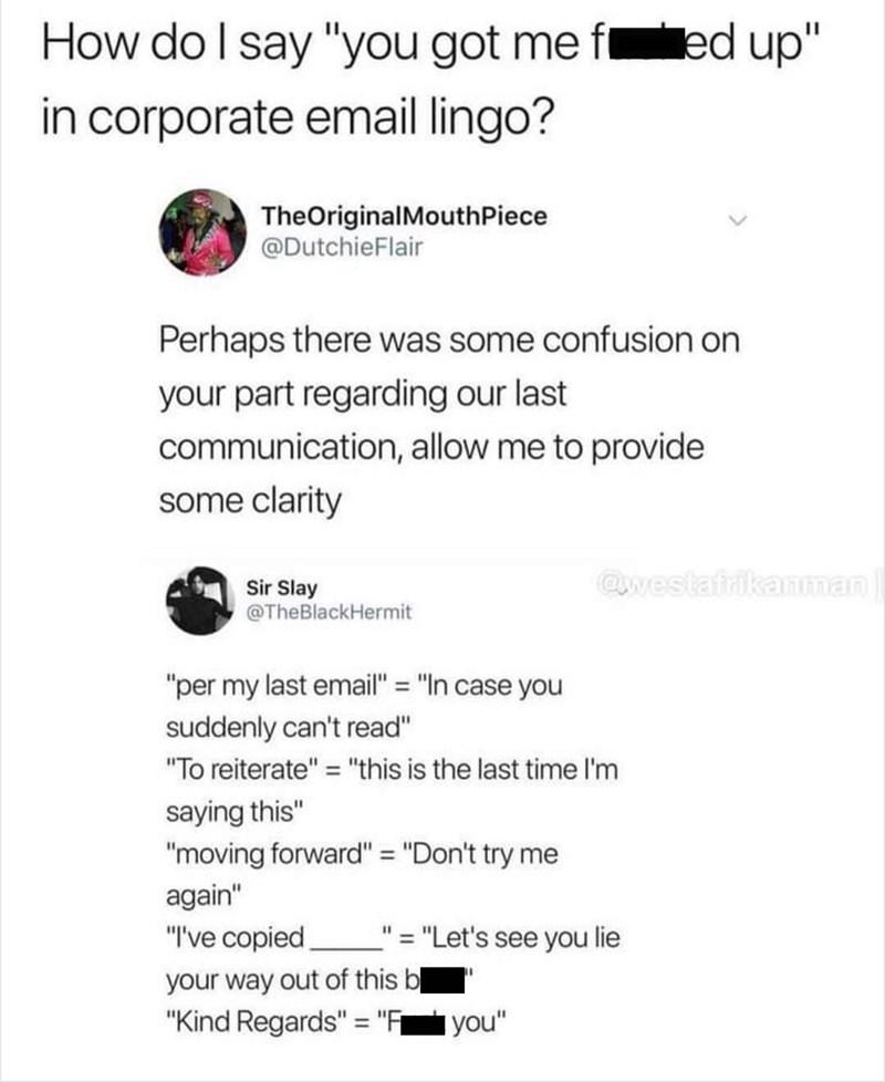 tweet on euphemisms people use in office emails