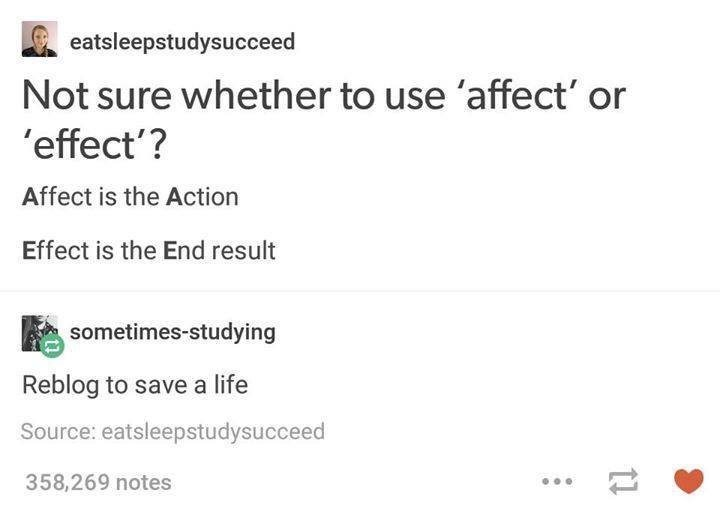 tumblr post on the difference between affect and effect
