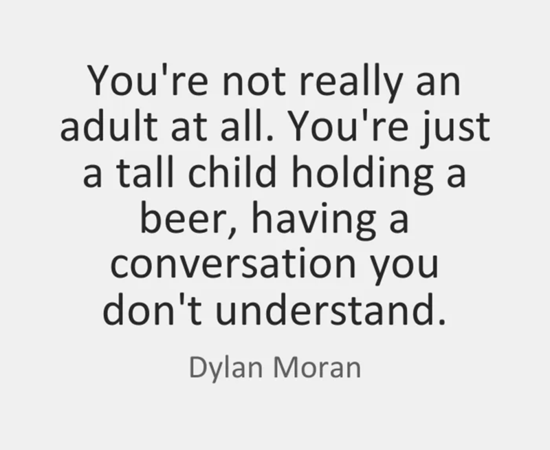 Dylan Moran quote about you being a tall child holding a beer and not understanding conversations