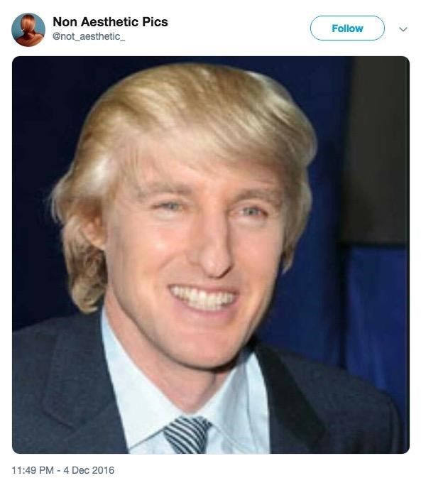 picture of Owen Wilson photoshopped with Donald Trump's hair