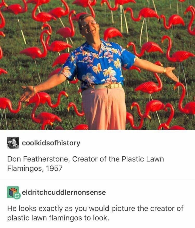 picture of Don Featherstone creator of plastic lawn flamingos wearing Hawaiian shirt and pink pants