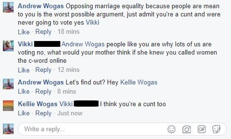 Facebook comments with mother agreeing that opposing marriage equality makes you a cunt