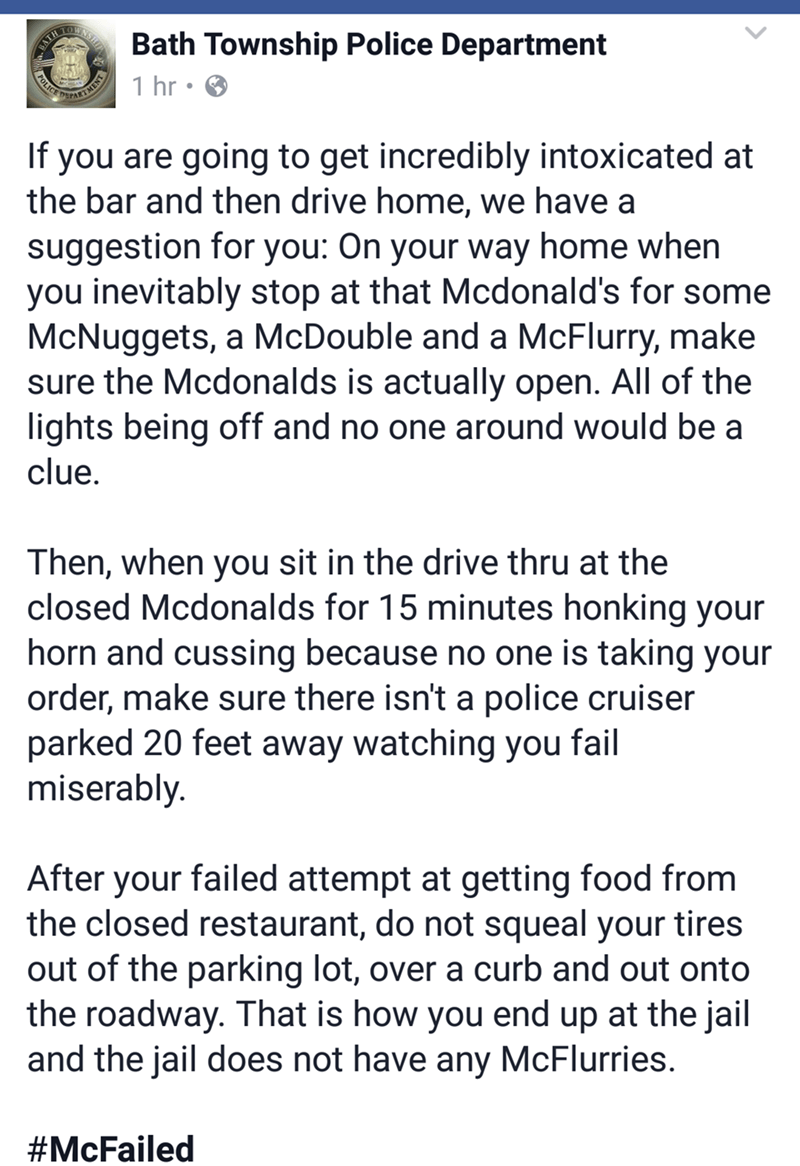 Facebook post from police giving advice about not getting drunk and trying to get food from closed McDonald's