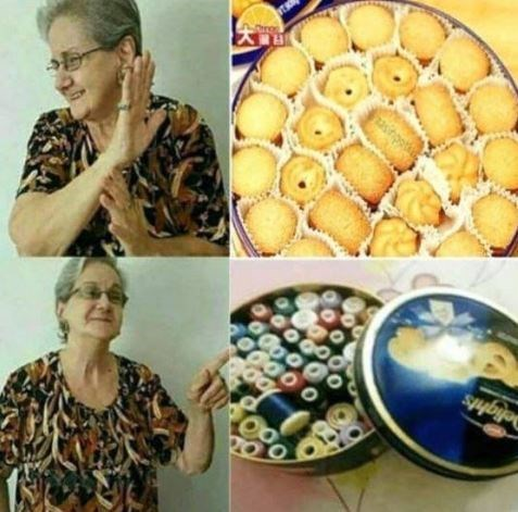 Drake Hotline meme with pictures of old woman storing knitting supplies in cookie tins