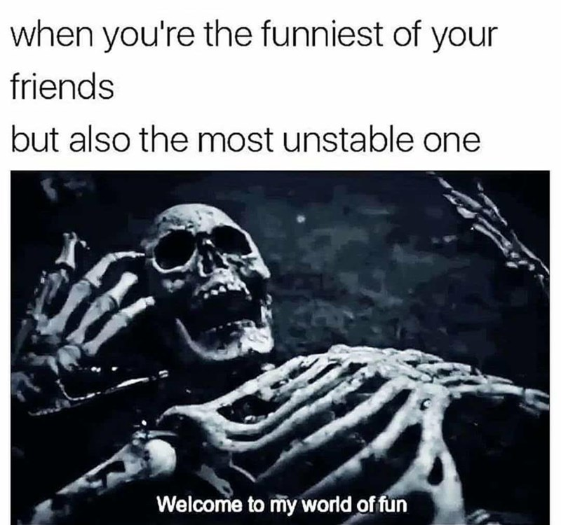 """Caption that reads, """"When you're the funniest of your friends but also the most unstable one"""" above a pic of a skeleton saying, """"Welcome to my world of fun"""""""