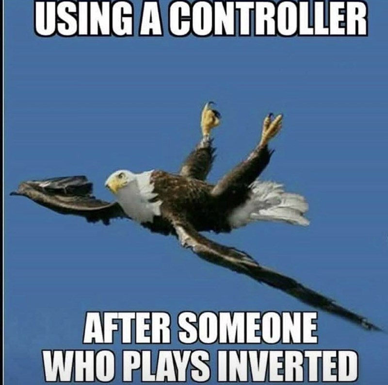 meme image of eagles body twisted and using a controller after someone who plays inverted