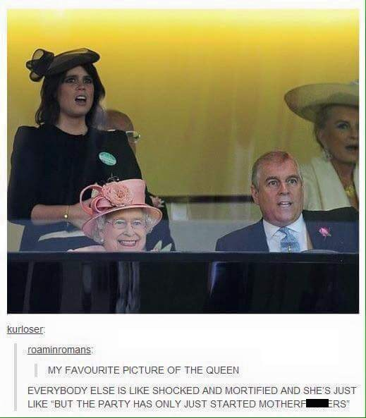 meme image of the queen with a happy expression and everyone else has a shocked look