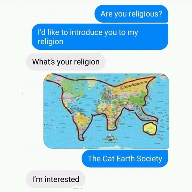 humorous meme with meme of cat earth society