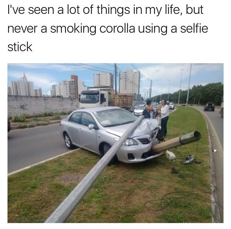 meme image of car crushed by a pole that looks like a selfie stick