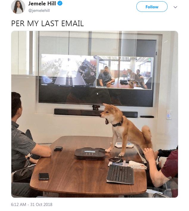 Dog - Jemele Hill Follow @jemelehill PER MY LAST EMAIL 6:12 AM 31 Oct 2018