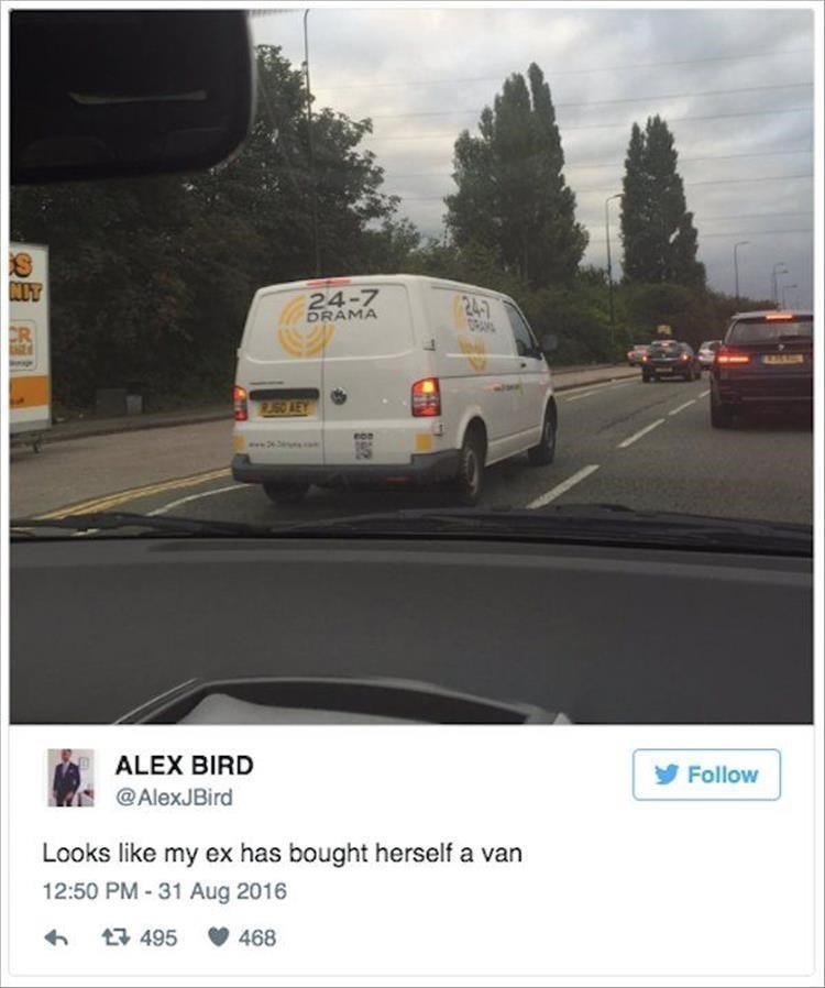 Vehicle - NLT 24-7 DRAMA ORAN CR www.24 ALEX BIRD Follow @AlexJBird Looks like my ex has bought herself a van 12:50 PM -31 Aug 2016 t495 468