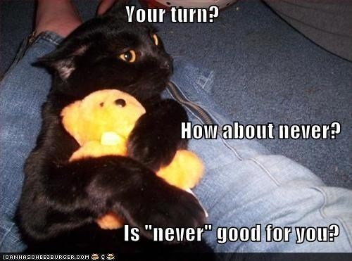 """Photo caption - Your turn? How about never? Is """"never"""" good for you? ICANHASCHEE2EURGER cOM"""