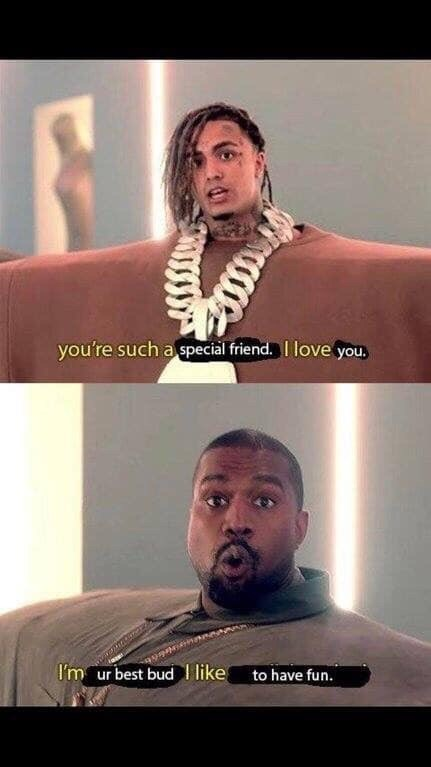 bros meme with Kanye West and Lil Pump from I Love It video