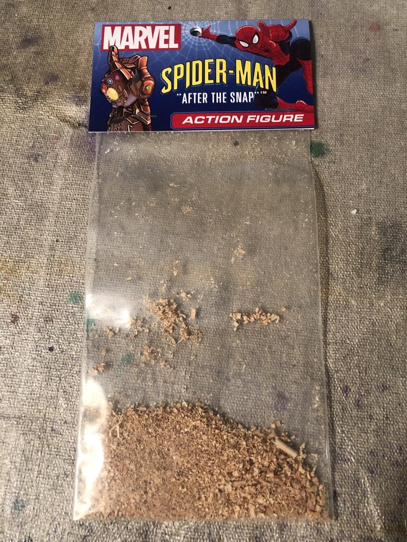 "Avengers meme about Spiderman action figure ""after the snap"" with picture of dust in bag"