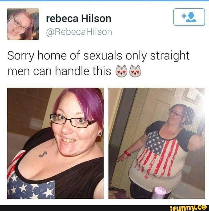"""sorry home of sexuals"" Tweet with pictures of heavy woman with purple hair only straight men can handle"
