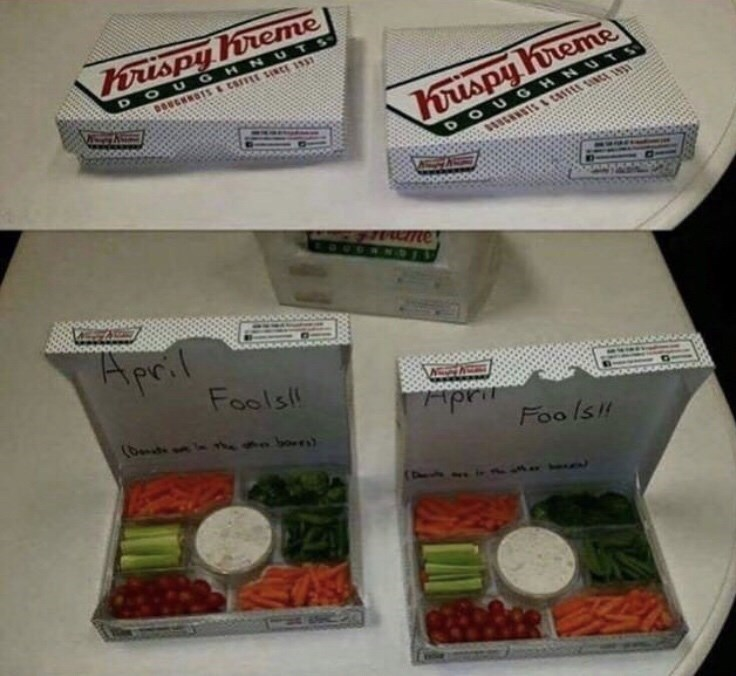 "pictures of Krispy Kreme donut boxes opened to reveal vegetables and the caption ""April fools"""