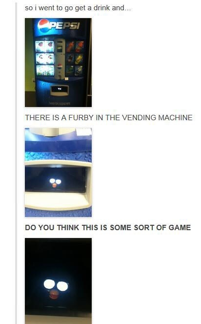 post about Furby inside of vending machine with pictures of Furby eyes flowing ominously from inside the machine