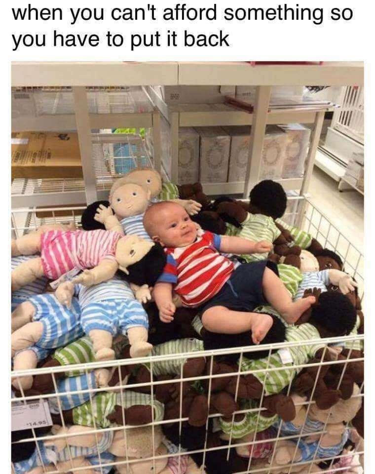 meme about putting back something you can't afford with picture of baby on shelf full of dolls