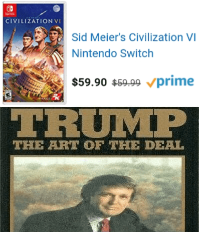 """dank meme about Amazon prime discount being 9 cents with picture of Trump's book """"the art of the deal"""""""