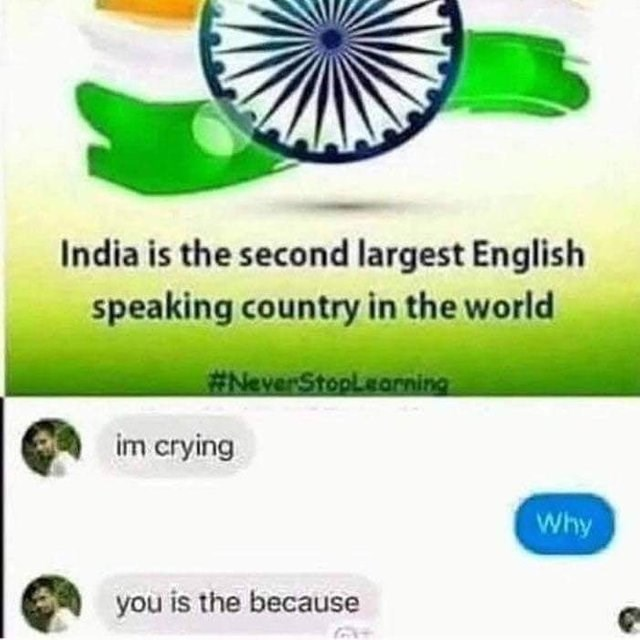 headline about India being the second largest English speaking country and screenshot of chat with Indian speaking broken English