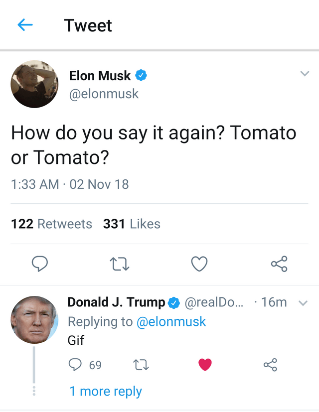 """Tweet thread of Donald Trump replying """"gif"""" to Elon Musk asking how to say tomato"""