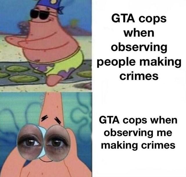 Cartoon - GTA cops when observing people making crimes GTA cops when observing me making crimes