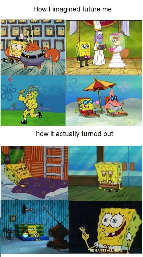 "Spongebob meme of ""how I imagined future me"" as series of pictures of Spongebob being successful vs ""how I actually turned out"" as pictures of sad and tired Spongebob"