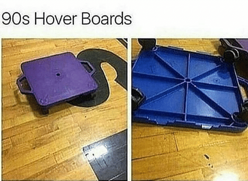 """picture of scooter boards captioned """"90s over boards"""""""