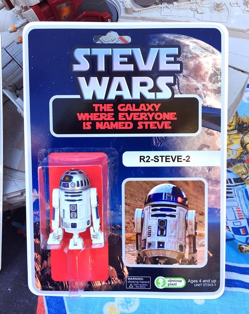 R2-d2 - STEVE WARS THE GALAXY WHERE EVERYONE IS NAMED STEVE R2-STEVE-2 WARNING choking hazard Dont swallow obvious plant Ages 4 and up UNIT 5T3V3-1 uun