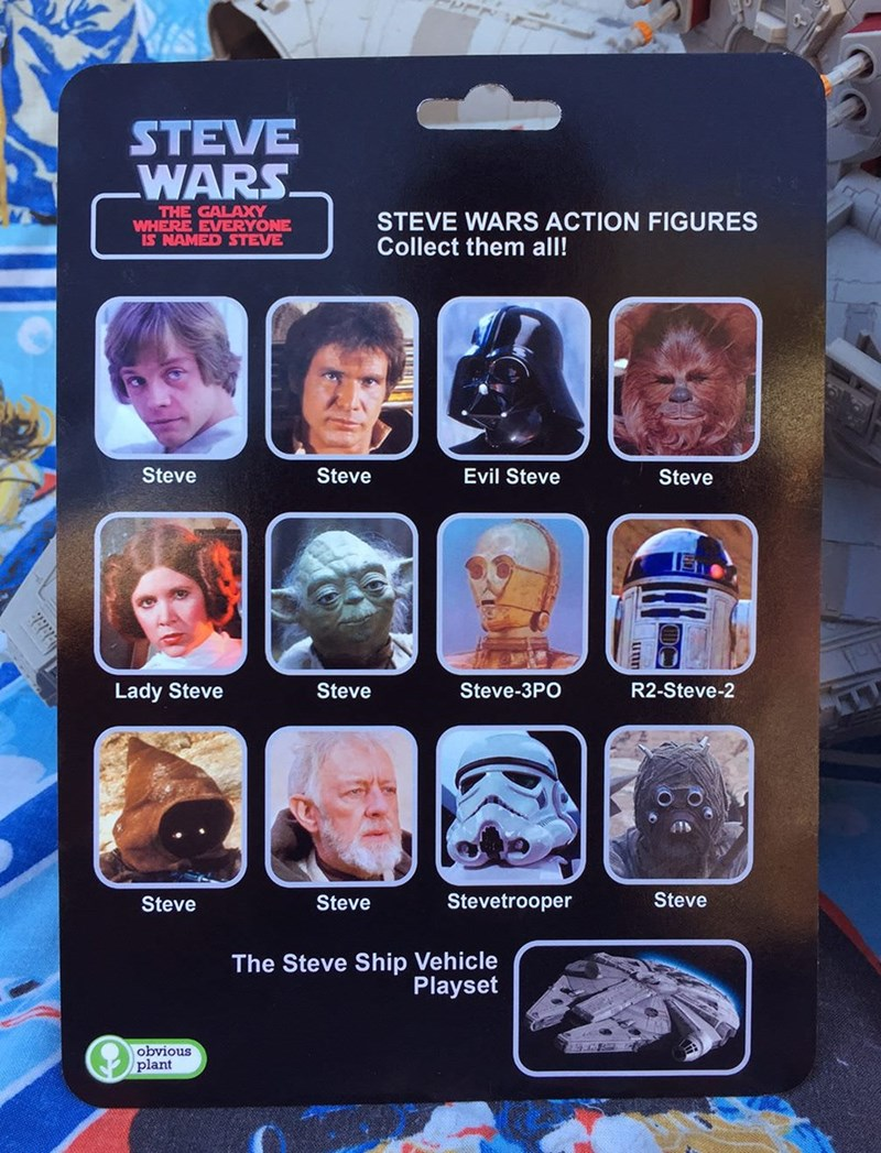 Electronic device - STEVE WARS THE GALAXY WHERE EVERYONE IS NAMED STEVE STEVE WARS ACTION FIGURES Collect them all! Steve Steve Evil Steve Steve Steve Steve-3PO R2-Steve-2 Lady Steve Steve Stevetrooper Steve Steve The Steve Ship Vehicle Playset obvious plant