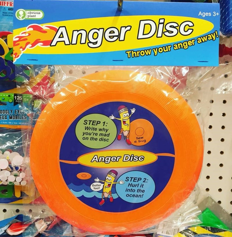 Toy - IFFR AAVER RISQUE DETOU obvious plant Ages 3+ Anger DisC Throw your anger away 125 PCS 0OGLY EYES TES EUX MOBILES STEP 1: Write why you're mad on the disc a1.5cm 50x 1em 6 8. Saw a bug Anger Disc STEP 2: Hurl it into the ocean! Better feel!