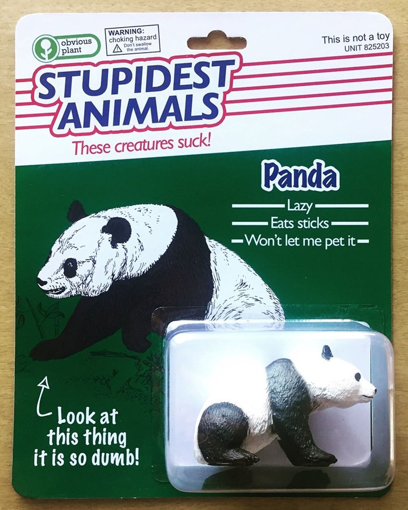Panda - WARNING: choking hazard Don't swallow the animal. obvious plant This is not a toy UNIT 825203 ESTUPIDEST ANIMALS These creatures suck! Panda Lazy Eats sticks IWon't let me pet it Look at this thing it is so dumb!