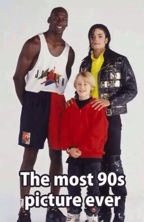 Michael Jordan with Michael Jackson and Macaulay Culkin being in the most 90s picture ever 4m6c9hx