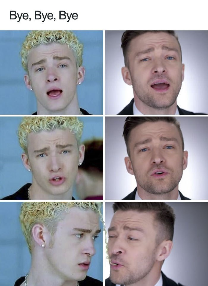 modern Justin Timberlake eating his own ramen noodles hair from the 90s
