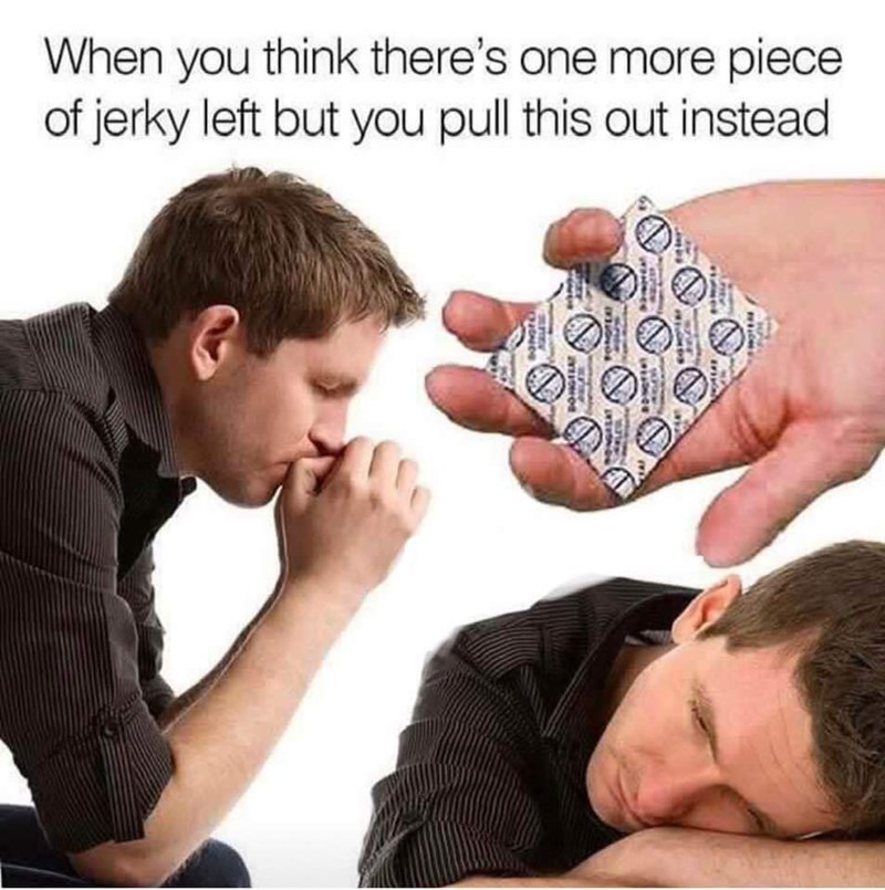 meme about running out of jerky with stock photos of man depressed