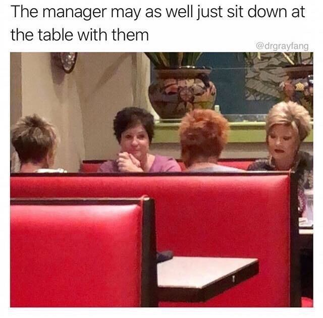 """picture of white soccer moms captioned """"the manager may as well sit down at the table with them"""""""