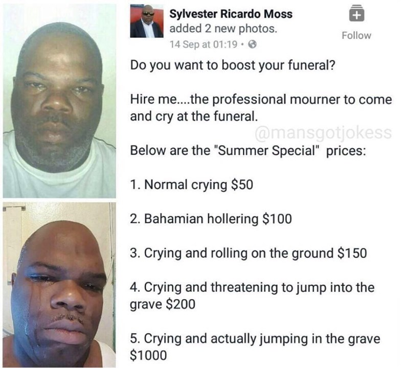 ad for professional mourner who will cry at your funeral