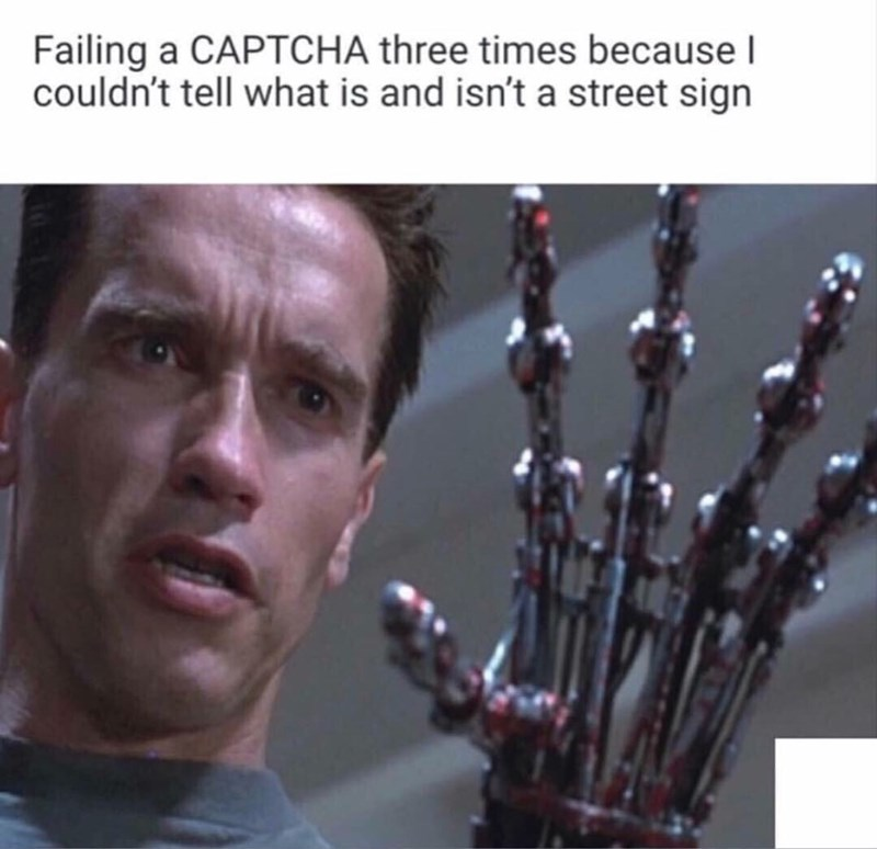 """Caption that reads, """"Failing a CAPTCHA three times because I couldn't tell what is and isn't a street sign"""" above a pic of Arnold Schwarzenegger staring at his Terminator hand"""
