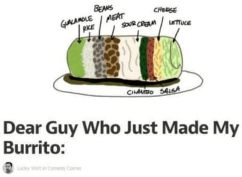 Text - BEANS ALAOLEAEAT RKE CHE SE SOUR CPEAM ETTOCE CAUTIO SALSA Dear Guy Who Just Made My Burrito: LUCky StComedy Cone